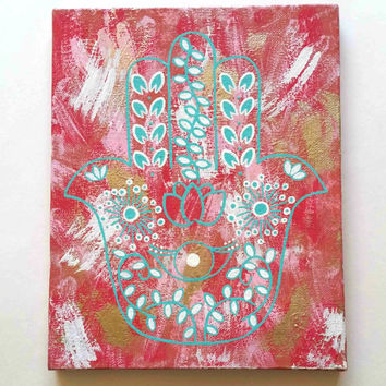 Bohemian hippie hamsa hand evil eye acrylic canvas painting for bedroom, dorm room, or home decor