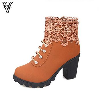VTOTA High Heel Boots Women Fashion Rhinestone Winter Ankle boots Wedges Women Shoes Autumn Shoes Woman Zapatos Mujer Botas
