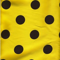 35 YARDS Fabric Big Polka Dot Yellow Black by emicraftinjapan