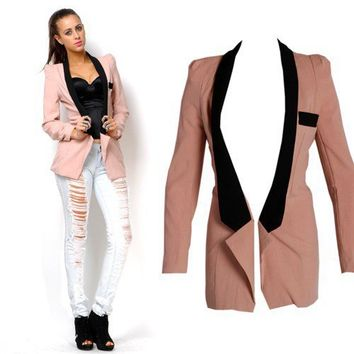 Colour Block Soprano Blazer in Dust Pink/Black - Clothing