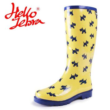 Hellozebra Women Ankle Polka Dot Rain Boots Lady Graffiti Elatic Waterproof Welly Buckle Nubuck Rainboots 2017 Fashion Desig