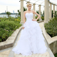 2016 Stock Corset Wedding Dresses Ivory White Robe de Mariee Organza Beaded Ruffled Plus Size Cheap Bridal Gown