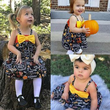 TELOTUNY  Baby Girls  Dresses Infant Toddler Baby Girls Pumpkin Bow Party Dress Halloween Clothes Dresses Aug 11