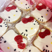 Hello Kitty Cookie Set of 12 by Pinkfrostingcookies on Etsy