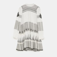MINI DRESS WITH CONTRASTING EMBROIDERY DETAILS