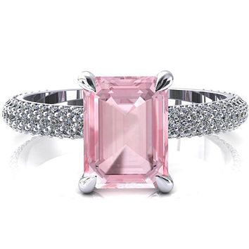 Elley Emerald Pink Sapphire 4 Claw Prong Diamond Accent Engagement Ring