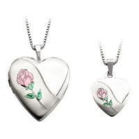Mother and Daughter Matching Rose in Heart Locket and Heart Pendant Set in Sterling Silver - View All Necklaces - Zales