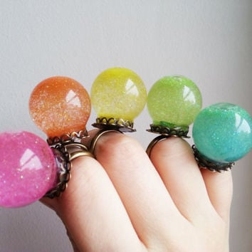 Glass dome ring - Rainbow colors glitter statement ring - terrarium ring