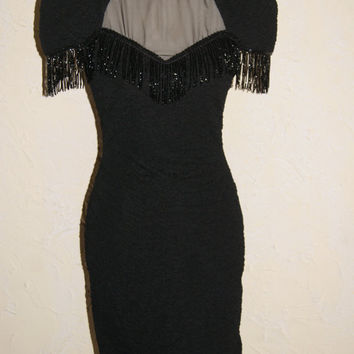 Vintage 1980s BETSY & ADAM Black Beaded Crinkle Knit See Through Sheer Top Cut Out Back Detail Knee Length Size 7 / 8