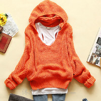 BAT LOOSE LONG-SLEEVED HOODED SWEATER CA922A