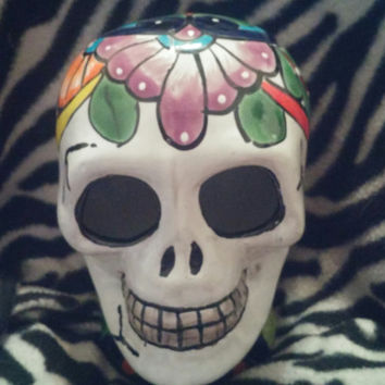 "Colorful Vintage Day of the Dead ""Dia de los Muertos"" Hand Painted Skull Ceramic Sculpture Figure Figurine Made in Mexico"