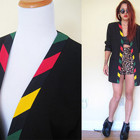 Vintage 80's MONDI black coat blazer oversized red green yellow androgyny tailor dynasty