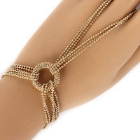 Gold Chain Bracelet w Attached Adjustable Ring Ladies Slave