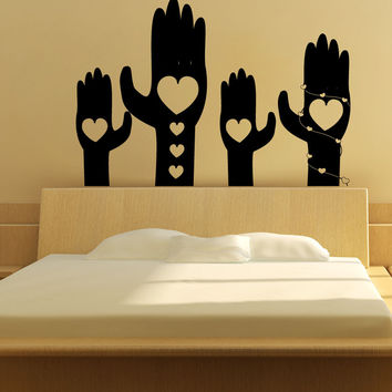 Vinyl Wall Decal Sticker Hands with Hearts #1350