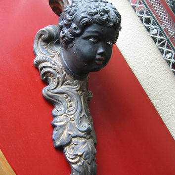 Italian Black Portrait Charcoal Bust Wall Sconce Candle Holder