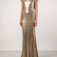 Badgley Mischka Draped Back Sequined Gown - Tootsies - Farfetch.com