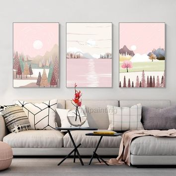 Abstract painting acrylic paintings on canvas huge size Pink original painting 3 pieces Wall Art hand painted Home Decor cuadros abstractos