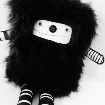 polkadottydoll - OOAK Plushie Black and White Faux Fur Art Doll Plush Modern Doll Art Doll OoAK Plush Creature - FREE SHiPPiNG Canada & US