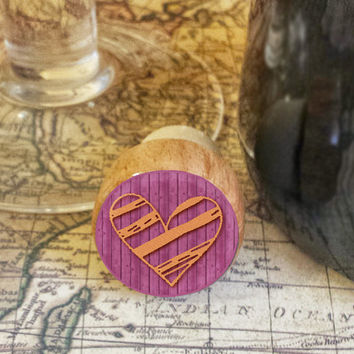 Wine Stopper, Orange Handrawn Heart Handmade Wood Cork, Heart Bottle Stopper, I Love You Gift, Wood Top Cork Stopper, Valentine's Day Gift