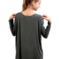 Girls Authentic Long Sleeve Piko, Army