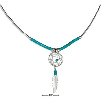 "Sterling Silver 20"" Dreamcatcher Necklace With Feather And Turquoise Heishi"