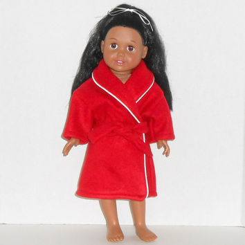 18 inch Doll Red Fleece Robe with White Trim fits American Girl Doll