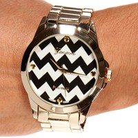 GoldBlackWhite Chevron Face Watch