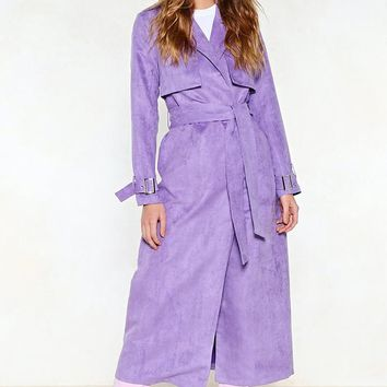 Go Back a Long Way Vegan Suede Trench Coat