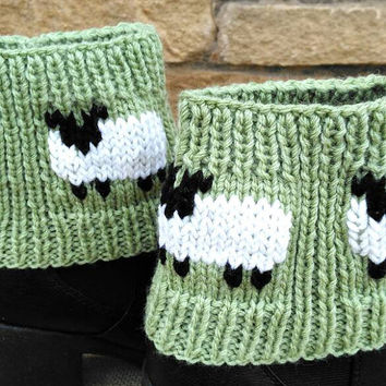 Knitted Ankle Boot Cuffs Sheep design, flock of sheep in Aran, green, white, black yarn, with wool Ready to ship from UK