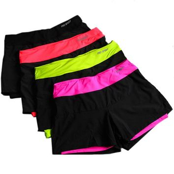 women running shorts lined anti emptied stretch trainning fitness yoga sports short pants slim gym sweat shorts