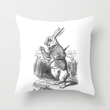 Vintage Alice in Wonderland the White Rabbit emo goth antique book drawing sketch art print Throw Pillow by iGallery