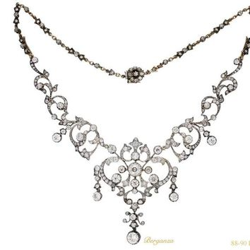 1850s Stunning Victorian Diamond Tiara Necklace