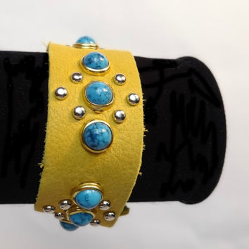 Leather and Turquoise Western Cuff Bracelet