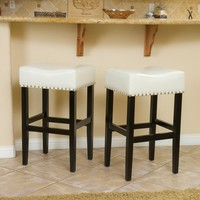 Chantal Ivory Leather Bar Stool (Set of 2)