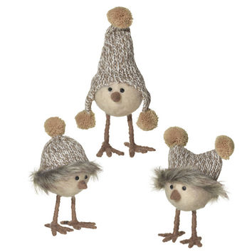 All Dressed Up Nordic Birds - Set of 3 with Pom Pom Knit Hats