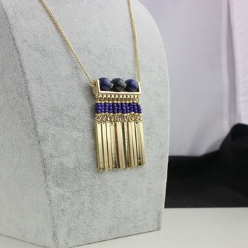 Brand New Gold Plated Tassel Necklaces for women Amethyst Stone Bohemian Fine Jewelry
