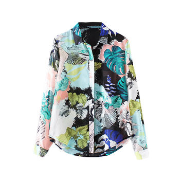 Women Chiffon Blouse Contrast Print Ropa Mujer Button Up Turn-down Collar Long Sleeve Green Graffiti Shirts SM6