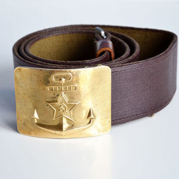 Soviet Army Belt with Anchor Brass Buckle - Gift for Him, Marine Belt, Nautical Belt, Durable Military Vintage Belt for him, Communist belt