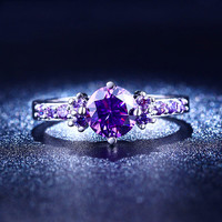 White Gold Ring with Purple Amethyst Diamond for Women