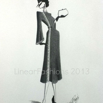 1930s Coat Dress Fashion Illustration / original art / pencil drawing / fashion sketch / vintage style art / art gift / decor