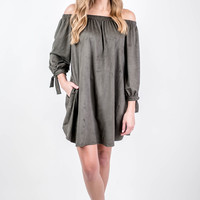 Suede Olive Off The Shoulder Dress