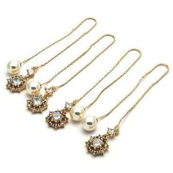 Gold Layered Threader Earring, Ball Design, with Cubic Zirconia and Pearl, Golden Tone