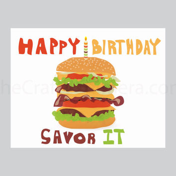 Bacon Burger Printable Birthday Card