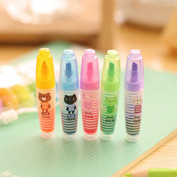 6 Pics lot Kawaii Highlighter Set Pen Markers Cute Korean Stationery Marker Light Drawing Supplies Kids