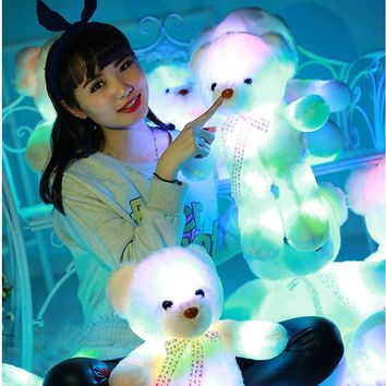 Tatalia 35cm Light Up LED Teddy Bear Stuffed Animals Plush Doll Toy Flash Colorful Glowing Teddy Bear Christmas Gift for Kids