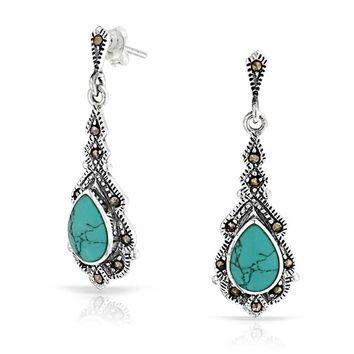 Teardrop Turquoise Marcasite Dangle Earrings 925 Sterling Silver