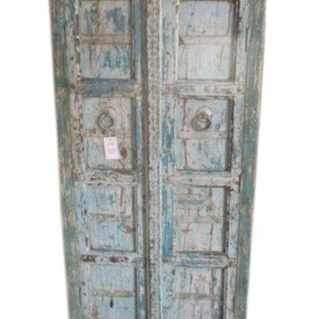 Antique Reclaimed Blue Patina Storage Indian Furniture