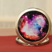 Epic Galaxy Pocket Mirror, Nebula Compact Mirror, Bridesmaid Gift Space Mirror Galaxy Gifts