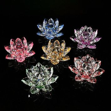 Lotus Crystal Glass Candlestick Figure Paperweight Ornament Feng Shui Decor Collection