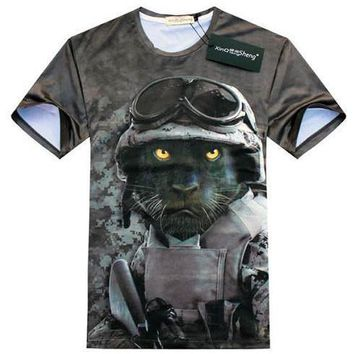 Black Panther Army Print Graphic Tee T-Shirt in Grey | Gifts for Animal Lovers